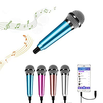 Surmounty Mini Portable Vocal/Instrument Microphone For Mobile phone laptop Notebook Apple iPhone Samsung Android (blue)