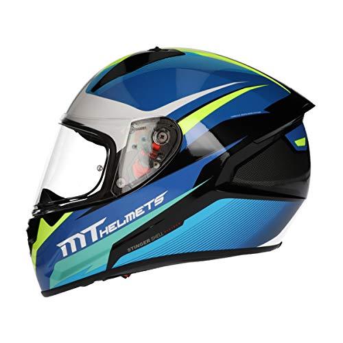 MT Stinger Integralhelm matt schwarz   Roller/Motorrad Helm Klapphelm 2mm Vizier kratzfest   inkl. eingebaute Lautsprechertaschen und kostenloser Helmmütze (Divided blau, M)