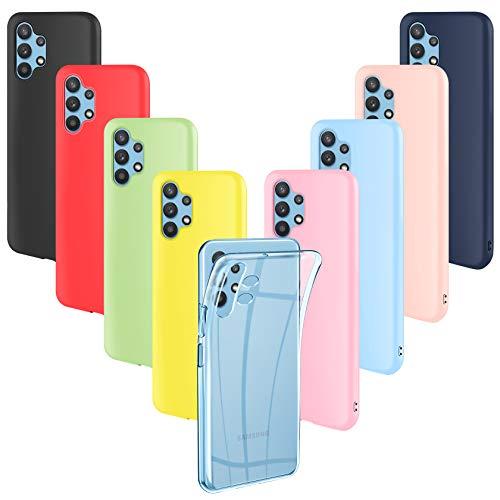 ivencase 9 Pack Funda Compatible con Samsung Galaxy A32 5G, Fina Silicona TPU Flexible Cover para Samsung Galaxy A32 5G Rosa,Verde, Púrpura, Rosa Claro, Amarillo, Rojo, Azul Oscuro, Translúcido, Negro