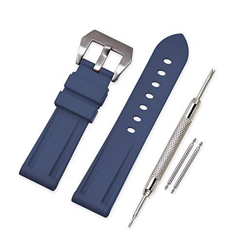 Vinband Correa Reloj Camuflaje Recambios Correa Relojes Caucho - 20mm, 22mm, 24mm, 26mm Silicona Correa Reloj con Hebilla de Acero Inoxidable Cepillado for Panerai (26mm, Navy Blue)
