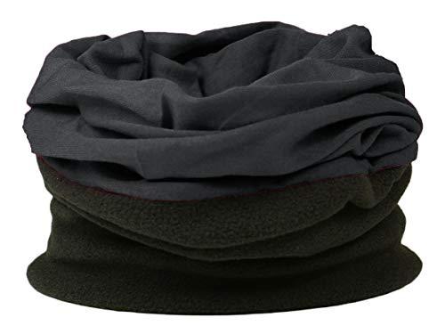 ROCKJOCK Multifunktionale Snood für Männer. Schal, Mütze, Halswärmer, Kapuze, Kopfschutz mit Fleece-Abschnitt-BLACK/BLACK