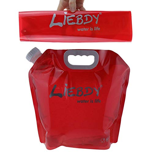 Liebdy® Faltbarer Wasserbehälter 5 Liter, BPA frei, mit dichtem Deckel + Griffmulde, Flexibler Wasserkanister für Unterwegs, Camping, Outdoor, Festival | rot