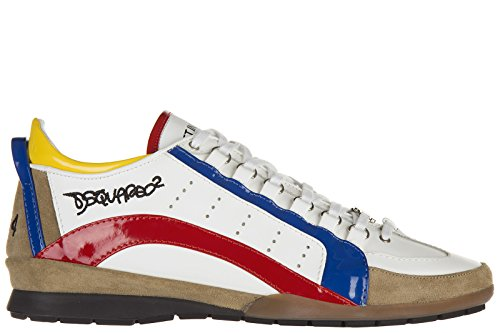 Dsquared2 scarpe sneakers uomo in pelle nuove bianco