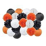 Auleset Linternas De Papel, 21 Unids/Set DIY Multi-Color Plegable Fiesta Linterna Redondo Papel Flor Colgante Linterna Set Decoración De La Boda Naranja Negro