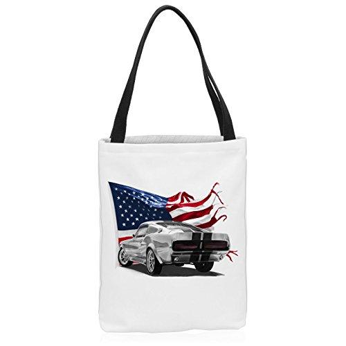 VOID Stars and Stripes Muscle Car Tasche Einkaufs-Beutel Polyester Shopper Einkaufs-Tasche Bag Eleanor Mustang, Polyestertasche Größe:Medium