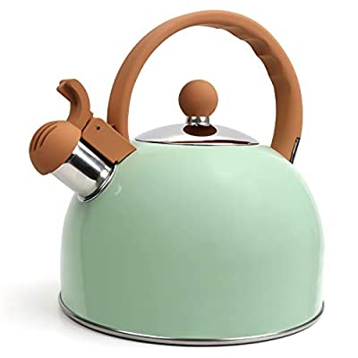 Flantor Tea Kettles Stainless Steel Whistling Teapot, 2.5 Quart Loud Whistle Food Grade Stainless Steel Teapot, Stove Top Water Kettle Whistling Tea Kettles with Silicone Handle