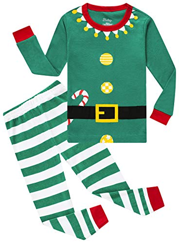 shelry Pajamas for Girls Boys Christmas Elf Sleepwear Baby Striped Clothes Toddler Kids Pants Set 7t