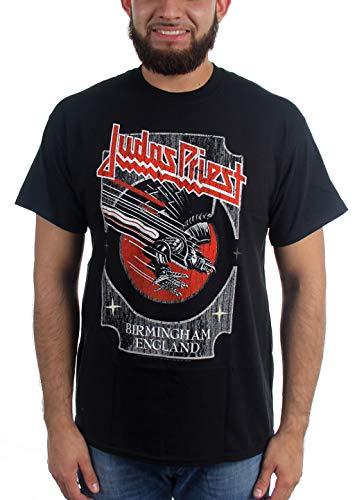 """Shirtzshop - Camiseta de manga corta para hombre, diseño con texto """"Judas Priest"""", color plateado y rojo negro S"""