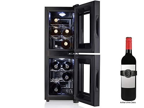 Zwei Zonen WEINKÜHLSCHRANK für 12 Flaschen mit WEINTHERMOMETER - Weinklimaschrank 32 Liter, LED Anzeige & Touchfunktion