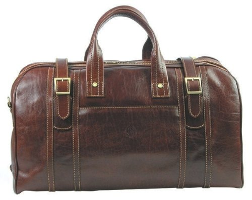 Chiarugi - Leather travel bag, holdall, weekender, duffle bag - Made in Tuscany with genuine Italian leather
