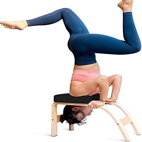 ZDWN Yoga-Kopfständer-Hocker, multifunktionale Sport-Trainingsbank für perfekte Körper-Yoga-Hilfe, Workout-Stuhl, Holz und PU-Pads, Stressabbau und Aufbau, weiß, 37,5 x 57 x 35,5 cm