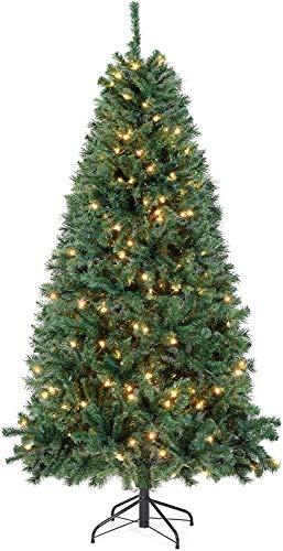 SALCAR Albero di Natale Artificiale con LED Luci Incorporate 210 cm, 1346 Punte di Rami Albero di Pino di Natale con LED Luci Pre-Illuminato e Supporto in Metallo-2,1m