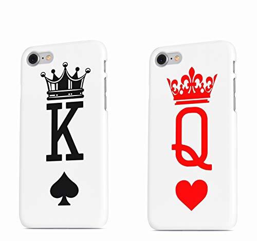 Coppia Cover fidanzati Love King Queen Personalizzata con iniziali Nome Data Anniversario Festa Amore Compleanno Tumblr Smartphone Custodia per Tutti Modelli Apple iPhone Samsung Huawei Idea Regalo 2