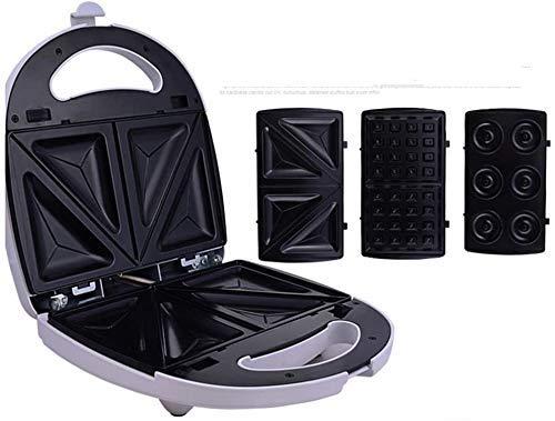 3 en 1 Sandwich -Waffle y anillos de espuma plana, con platos hondos revestimiento antiadherente, climatizada uniformemente en ambos lados, automática de la temperatura de control, ideal for el desayu