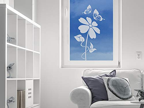 GRAZDesign 980279 Raamtattoo bloem met vlinder | Raamfolie Vensterafbeelding | Melkglas in 4 maten