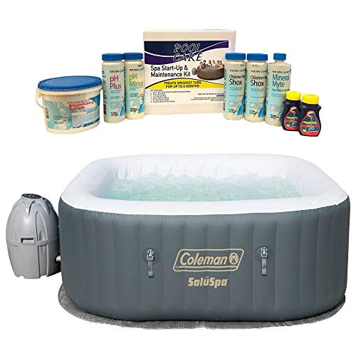 Coleman SaluSpa 4 Person Inflatable Hot Tub, Gray & Qualco 6 Month Chemical Kit