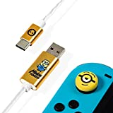 Numskull Official Minions LED USB Type-C Cable and Thumb Stick Grips - 1.5M Fast Charging Lead, Nintendo Switch Controller Mod (Nintendo Switch)
