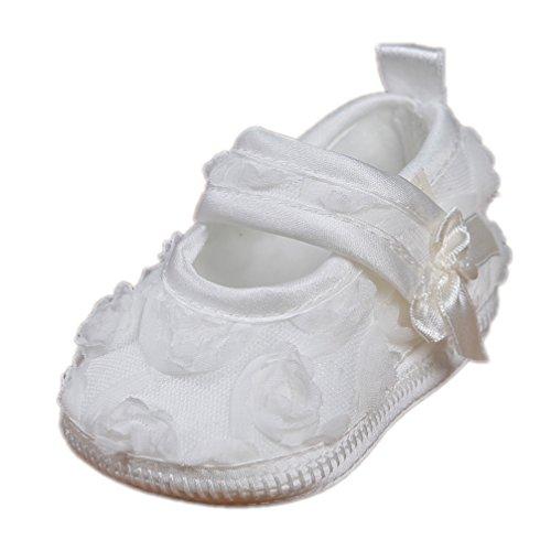 Festliche Taufschuhe Babyschuhe Ballerinas Muster Rosen Creme Ivory Modell 4532-198 (18(6-9 M.))