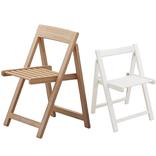 Klappstuhl Hölzern Gartenstuhl Bistrostuhl Mit Rückenlehne Europäischer Minimalistischer Stil Praktisch & Kompakt Platz Sparen(44×41.2×66Cm),Washed White