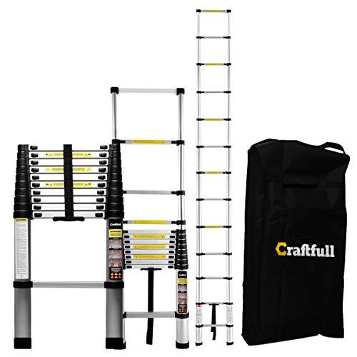 Craftfull Aluminum SOFT CLOSE Teleskopleiter inkl. Tragetasche - in 4,4 Meter - Mehrzweckleiter - Stehleiter - Aluminiumleiter - Leiter - Schiebeleiter - Aluleiter (4.4 Meter Soft Close)