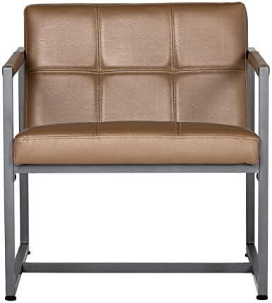 Best Studio Designs Home Modern Accent Chair Camber Mid-Century, Pewter Grey Metal Frame & Caramel Brown