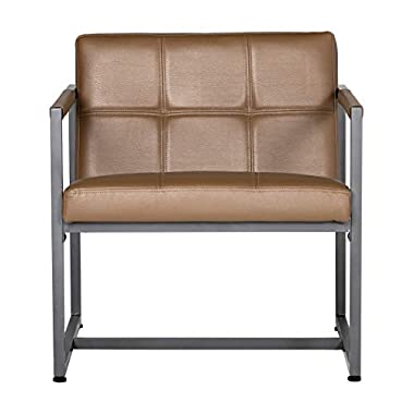 Studio Designs Home Modern Accent Chair Camber Mid-Century, Pewter Grey Metal Frame & Caramel Brown Leather