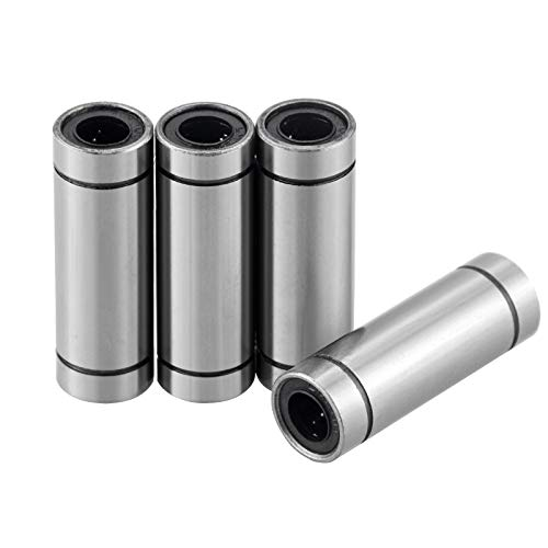 4 Pcs Extra Long LM10UU Linear Ball Bearings LM10LUU,10mm Bore Dia,19mm OD,55mm Length with Double Side Rubber Seal Great for CNC,3D Printer