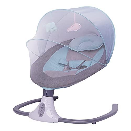 Babywippe, Elektrische Babyschaukel Für Neugeborene Mit Musik,4-Gang-Timing, 4-Gang-Schwung, Ab Der Geburt Bis Zu 24Monaten, 0-20 Kg, (Grau)