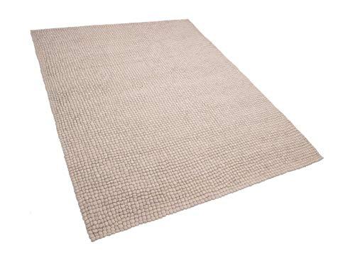 Beliani Teppich rechteckig Wollteppich Filzkugelteppich 160 x 230 cm beige Amdo