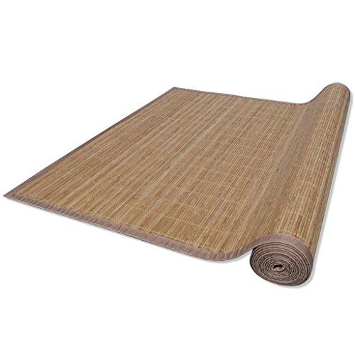 Alfombra Salon Bambu - Alfombrilla Madera Bambú con Una Base Antideslizante de PVC | Estera de bambú Esterilla de baño, Cocina y Pasillo Repelente al Agua | Varios tamaños (Marrón, 80 x 300 cm)