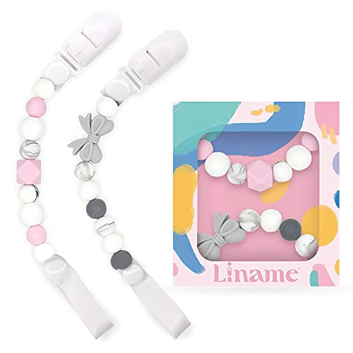 Pacifier Clip for Girls/Boys- 2 Pack Binky Holder - Pacifier Clips Fit All Pacifiers, Soothers and Binkies- Food Grade Silicone and Cute Design - Perfect Gift Packaging for Baby (Pink)
