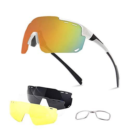 V VILISUN Polarisierte Sportbrillen UV400 Schutz mit 4 Wechselgläser Radbrillen Damen Herren für Outdoor-Sport Radfahren Motorradfahren Laufen Angeln Golf Radsportbrillen Fahrradbrille