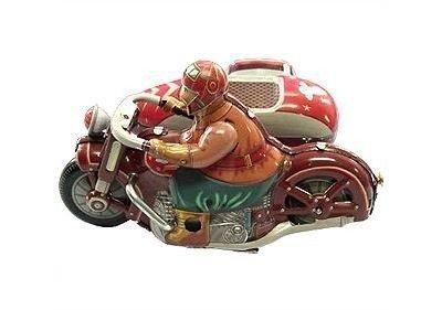 Blechspielzeug zum Aufziehen tin toys wind up new rare-Dreirad Motorrad mit Beiwagen Seitenwagen rot grün orange