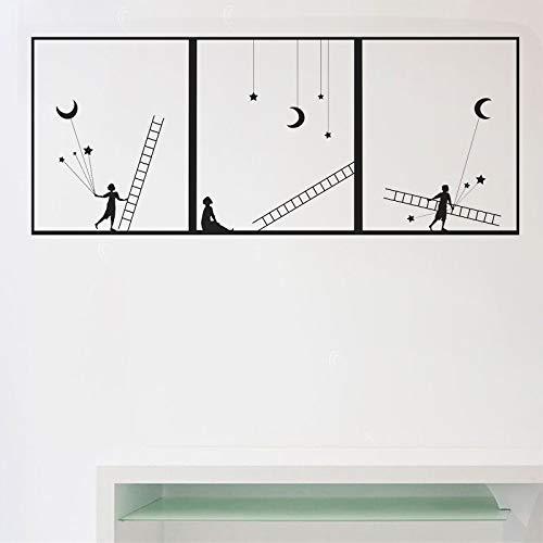 JXFM Etiqueta engomada de la Pared de la Escalera del niño de DIY calcomanía de la Estrella de la Luna decoración de la Pared del Dormitorio del niño Pegatina artística decoración de la habitació