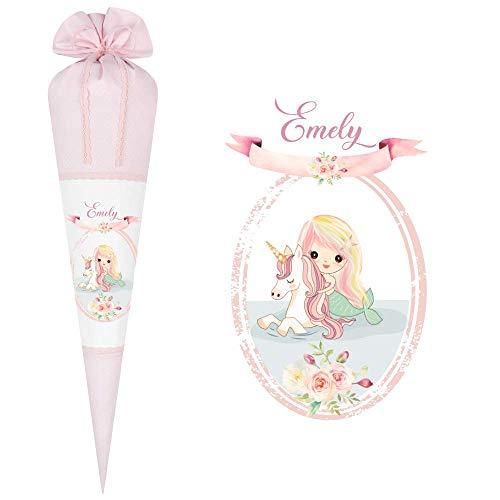 Manufaktur Liebevoll Schultüte aus Stoff personalisiert mit Namen des Kindes I Zuckertüte mit Meerjungfrau-Motiv für Mädchen I Stoff in rosa mit weißen Punkten