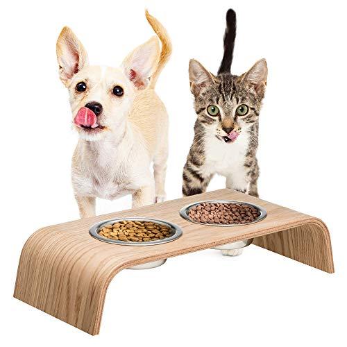 Hölzerner Erhöhter Ständer für eine gesündere Haltung beim Essen für Katzen und Hunde inklusive Futternapf Katze und Hund (Eiche)
