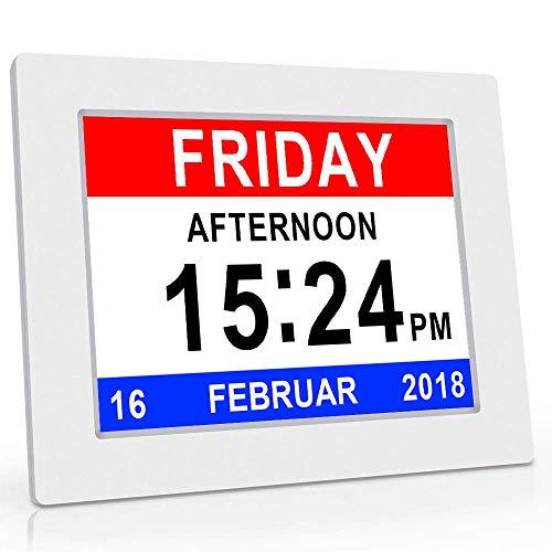 """8\"""" Digital Wecker,Digitaler Kalender Tag Uhr Für Demenz sehschwachen Gelesen Werden,Kinder, Senioren, Sehschwache und Alzheimer Patienten -Großer Schrift Elektronischer Kalender Tag Uhr (Weiß)"""