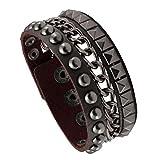 MILAKOO Jewelry Cool Wide Punk Rock Genuine Leather Tribe Wristband Cuff Bracelet Bangle Rope Brown