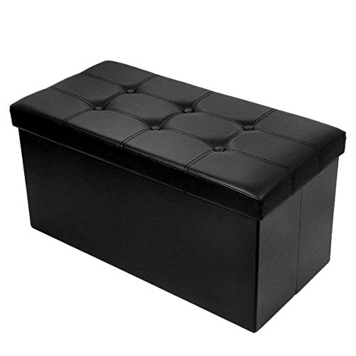 BRIAN & DANY Baúl Puff Taburete para almacenaje Plegable Ottoman, Negro, 76 x 38 x 38 cm