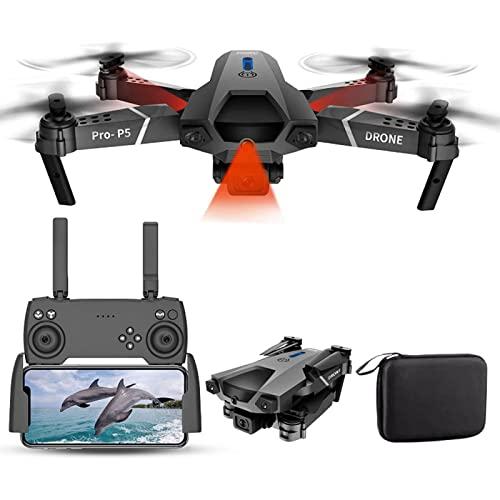 MXCYSJX Drone Portatile per Bambini 4k Doppia Fotocamera Fotografia Aerea Professionale Evitamento Ostacoli a infrarossi WiFi FPV Mini Drone Quadcopter Rc Elicottero Giocattoli da Esterno,Nero