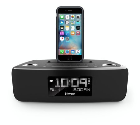 iHome iDL44 Lightning Dock Dual Clock Radio with USB Charge/Play for iPhone 5/5S & 6/6Plus & All iPad Models with Lightning Connector - Newest Model (Gunmetal)