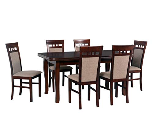 Mirjan24 Esstisch mit 6 Stühlen DM07, Esstisch Stuhlset, Tischgruppe, Esstischgruppe, Sitzgruppe, Esszimmergarnitur, Esszimmer Set, DMXZ (Nuss/Nuss Inari 23)