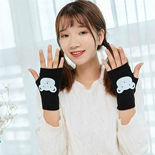 FFSMCQ Cartoon Winter Half Finger Driving Handschuhe Strick Damen E-Piano Handschuhe Fingerlose Handschuhe Warme Nette Handschuhe E