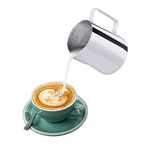 BOHORIA® Dzbanek na mleko, dzbanek na mleko premium, 350 ml / 12 FL.oz. dzbanek na mleko ze stali nierdzewnej, spienianie mleka do cappuccino i kawiarni latté, srebrny (9 × 7,5 cm) (350 ml)