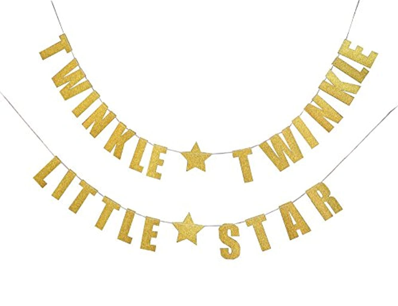 OOCC GoldenTwinkle Twinkle Little Star Banner for Wedding Birthday Baby Shower Holiday Party Decorations Supplies/Bonus: 1* Glitter Baby Photo Banner Garland (Golden)