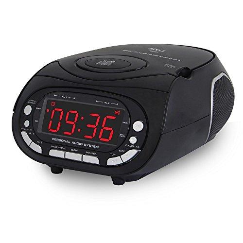 Audiola [462029] AHB-2029 radio sveglia con lettore cd radio fm stereo ricerca elettronica PLL nera 18,3 (L) x 10 (H) x 21 (P) cm