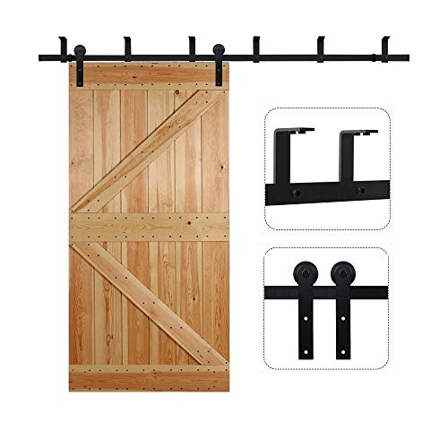 CCJH 8FT Ceiling Mount Sliding Barn Door Hardware Kit Black Low Ceiling L-Shape Bracket System, Fit 48' Wide Single Door Panel (I Shaped)