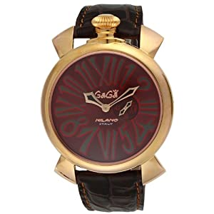 [ガガミラノ] 腕時計 スリム46mm ブラウン文字盤 ステンレス(PGPVD) ケース カーフ革ベルト 5085.1 並行輸入品 ブラウン [並行輸入品]