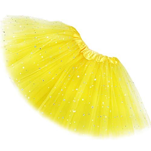 Reciy Sparkle - Falda de tul para niña, tutú de capas, diseño de princesa, para bailar ballet, talla 2-8 años amarillo Talla única