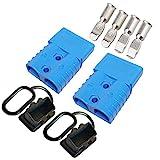 Conector de batería Set, Azul 2 Pcs Enchufe rápido del conector de la batería para los modos de motocicleta Van del automóvil 600V 120Amp Con (4 Pcs metal terminal 2AWG)